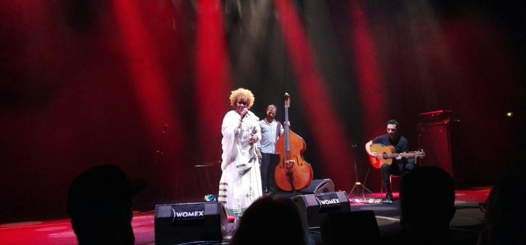 Etenesh Wassie Trio på scenen.