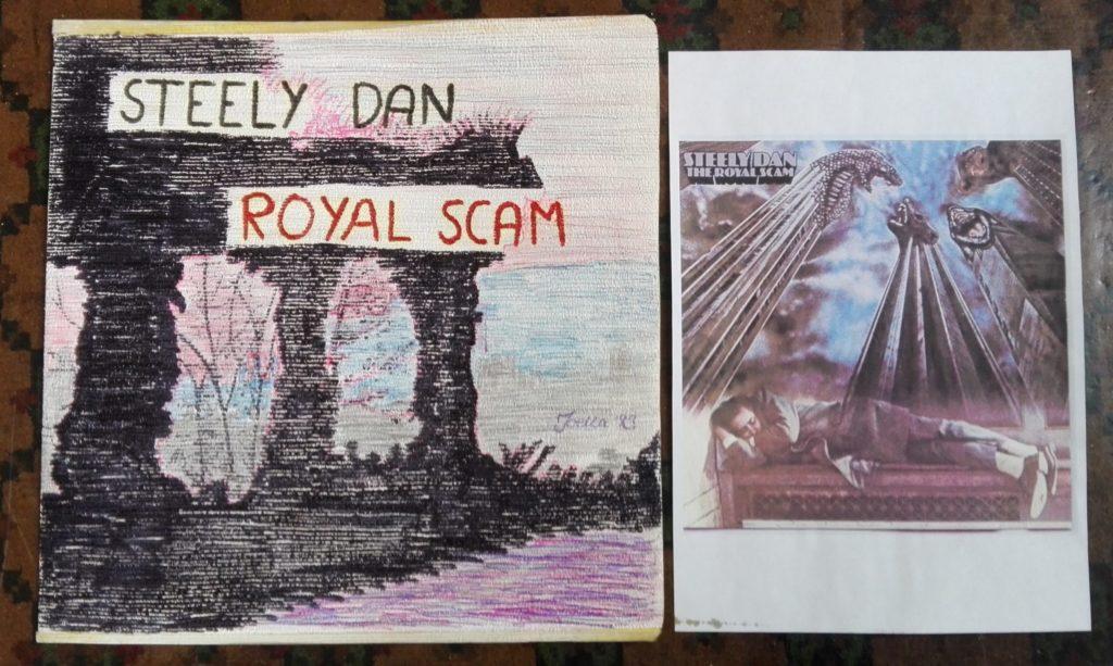 Hjemmelaget cover til Steely Dan, med et ark med bilde av originalcoveret ved siden av.