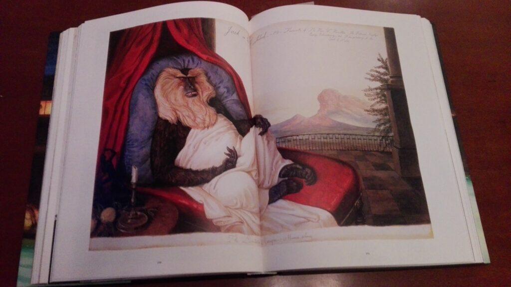 Bilde fra en dobbeltside i en bok. Det viser et maleri av en apekatt som sitter på en luksuriøs seng eller stol.