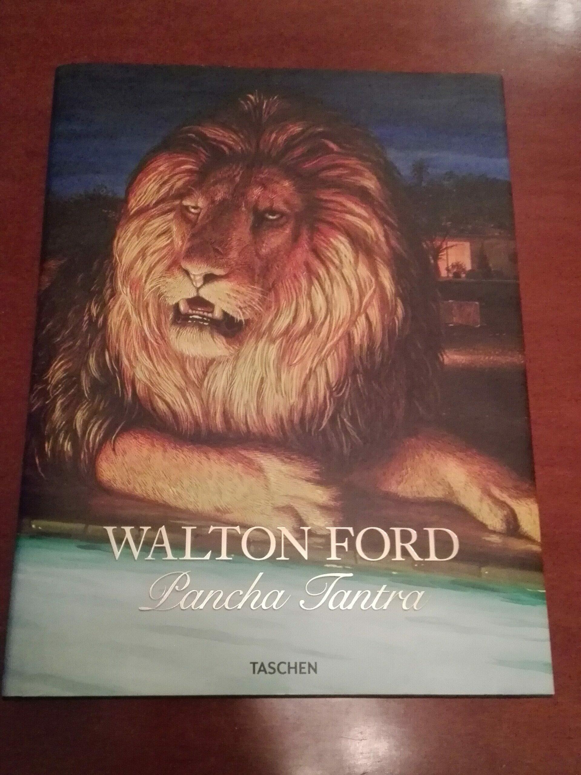 Omslaget til boka Pancha Tantra av Walton Ford. Bildet viser et maleri av en løve.