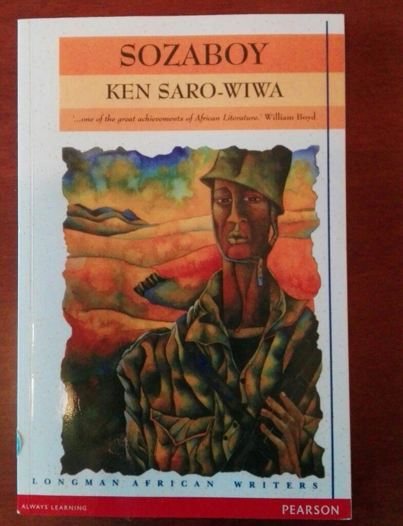 Omslaget til boka Sozaboy av Ken Saro-Wiwa. Omslaget viser et maleri av en soldat.